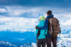 Hiking couple looking at view Stock Images