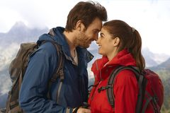 Hiking couple in love Stock Image
