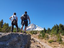 Hiking couple on the Tilly Jane Trail on Mount Hood, Oregon. stock images