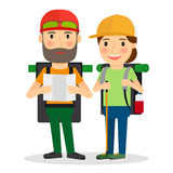 Hiking couple vector illustration Stock Photos