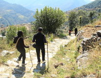 Hiking in Deoria Tal. Stock Images