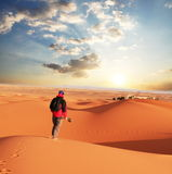 Hiking in desert Royalty Free Stock Photo