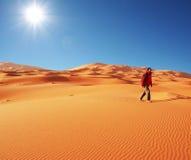 Hiking in desert Royalty Free Stock Photo