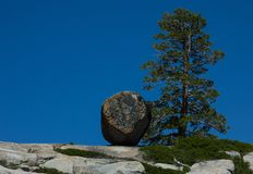 Hiking In Desolation Wilderness Near Lake Tahoe. A large boulder and tree along a hiking trail in Desolation Wilderness near Lake Tahoe, California stock photography
