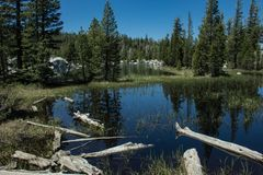 Hiking In Desolation Wilderness Near Lake Tahoe. One of the Velma Lakes along a hiking trail in Desolation Wilderness near Lake Tahoe, California royalty free stock image