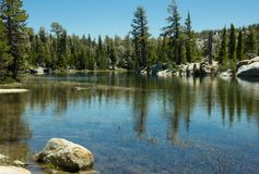 Hiking In Desolation Wilderness Near Lake Tahoe. One of the Velma Lakes along a hiking trail in Desolation Wilderness near Lake Tahoe, California stock images