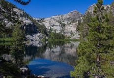 Hiking In Desolation Wilderness Near Lake Tahoe. A view of Eagle Lake along a hiking trail in Desolation Wilderness near Lake Tahoe, California royalty free stock photography