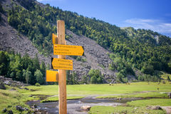 Hiking direction sign in Ossau Valley, Pyrenees France Stock Image