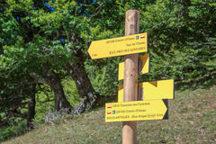 Hiking direction sign, Pyrenees, France Stock Photo