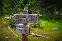 Hiking directions in Rocky mountains Royalty Free Stock Photo