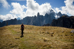 Hiking in Dolomite Royalty Free Stock Photos