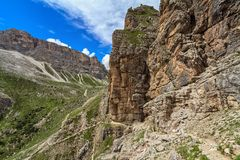 Hiking on Dolomites Royalty Free Stock Photos