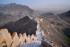 Hiking on an empty Great Wall of China between Jinshanling and S Stock Photography