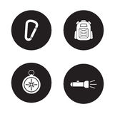 Hiking equipment black icons set Stock Images