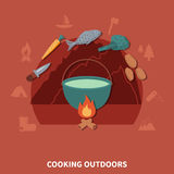 Hiking Equipment And Food Products For  Cooking Outdoors Royalty Free Stock Image