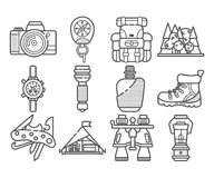Hiking equipment and forest leasure vector icon set. Mountain hiking and trekking elements. Multitool, lantern Stock Photography