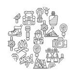 Hiking equipment and forest leasure vector icon set. Mountain hiking and trekking elements. Multitool, lantern, binocular, hiking. Royalty Free Stock Photography