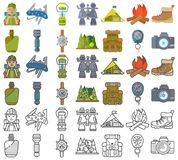 Hiking equipment and forest leasure vector icon set. Mountain hiking and trekking elements. Multitool, lantern Stock Photos