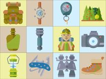 Hiking equipment and forest leasure vector icon set. Mountain hiking and trekking elements. Multitool, lantern Stock Images