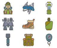 Hiking equipment and forest leasure vector icon set. Mountain hiking and trekking elements. Swiss knife, lantern, binocular, hikin Stock Images