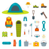 Hiking equipment and gear icon collection. Royalty Free Stock Photo