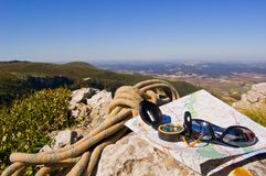 Hiking equipment for mountains. This photo shows some hiking equipment for people to use when they go to a mountain Royalty Free Stock Photos