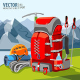 Hiking equipment, rucksack, poles, rope, helmet, ice pick. Mountaineering. Mountains. Vector illustration. Stock Images