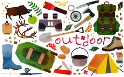 Hiking equipment. Set of vector icons for camping, outdoor activities and hunting.Vector illustration Stock Images