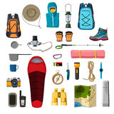 Hiking equipment. vector. Hiking and camping equipment vector Royalty Free Stock Images