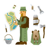 Hiking Equipment Vector Illustration Set Royalty Free Stock Images