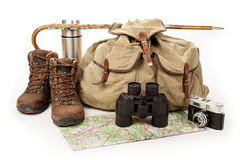 Hiking equipment. On white background Royalty Free Stock Photography