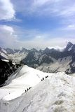 Hiking Europe summit, Mont Blanc. In the French Alps stock photography