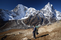Hiking in the Everest rigion Royalty Free Stock Photo