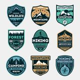 Hiking expedition vintage isolated label set. Outdoor adventure symbol, mountain and forest explorer, touristic extreme trip badge, nature trekking logo Royalty Free Stock Photo