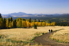 Hiking in fall color Flagstaff Arizona Royalty Free Stock Images