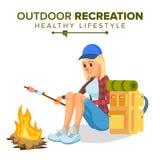 Hiking Girl Vector. Sports, Outdoor Recreation Concept. Hiking Tourist. Cartoon Character Illustration. Hiking Female Vector. Climbing, Trekking, Hiking, Walking Stock Photos