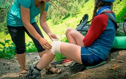 Hiking first aid stock image