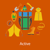 Hiking flat design Royalty Free Stock Image