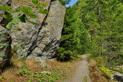 Hiking footpath in mountains Royalty Free Stock Images