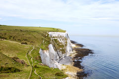 Hiking footpath on top of white cliffs of Dover Royalty Free Stock Images