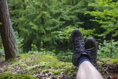 Hiking footwear. From a hiker taking a rest Royalty Free Stock Photography