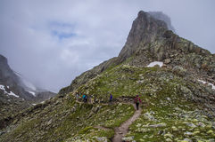 Hiking in french alps Stock Photo