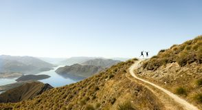 Hiking with friends on the best side of the world royalty free stock image