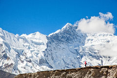 Hiking in front of Mt. Everest Royalty Free Stock Images