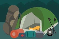 Hiking gear at camping vector cartoon Royalty Free Stock Image