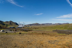 Hiking in geothermal country. Just near the main hot water springs that supplies Reykjavik with hot water Royalty Free Stock Photo