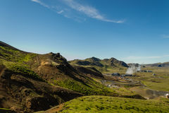 Hiking in geothermal country. Just near the main hot water springs that supplies Reykjavik with hot water Stock Photo