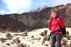 Hiking girl backpacking trip in mountain Stock Photos