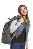 Girl hiker with backpack Royalty Free Stock Photos