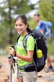 Hiking girl hiker with friends stock images